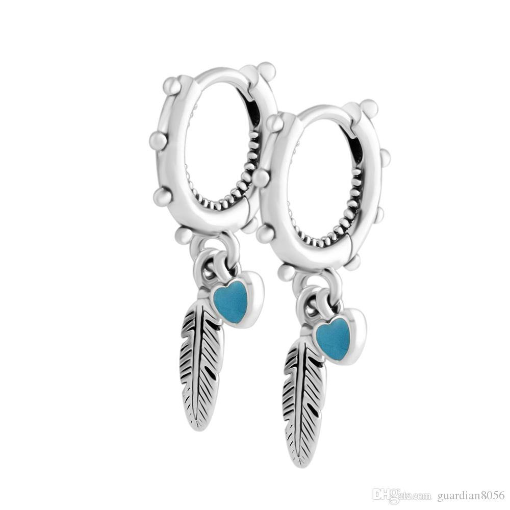 6be403863 2019 2018 Summer 925 Sterling Silver Spiritual Feathers Dangle Pandora  Earrings For Women Original Jewelry Making Anniversary Gift Wholesale From  ...