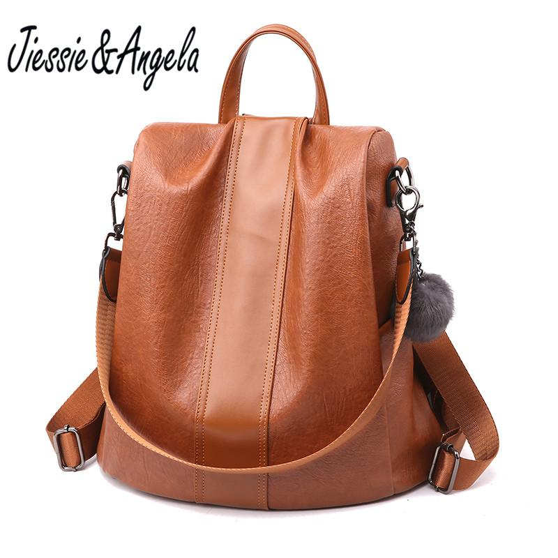 f8c1451dbb6d Jiessie Angela Fashion Women Backpack Leather School Bags Large ...
