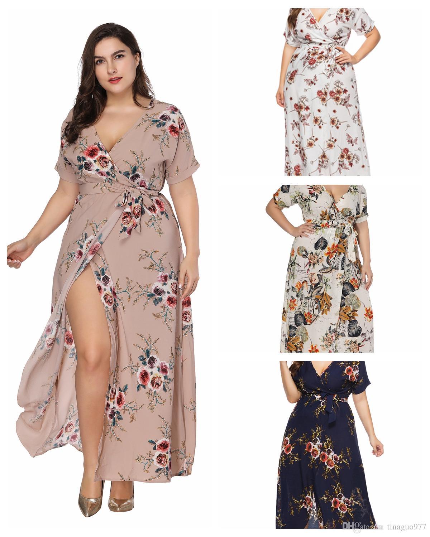 1dbb4f37f75 Großhandel Frauen S Kleidung Plus Size Blumendruck Maxi Kleider V  Ausschnitt Kurzarm Big Size Bohemian Dress Von Tinaguo977