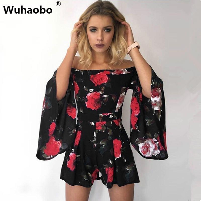 Wuhaobo Floral Print Jumpsuit Romper Women Elegant Off Shoulder Summer Beach Overalls Sexy One Piece Playsuit Combishort Femme