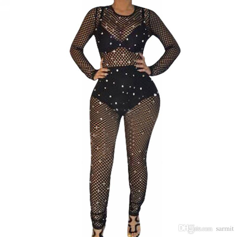 Mesh Sexy Bodycon Jumpsuit Summer for Women CHEAPEST Long Sleeve Bodysuit CAF470 Playsuits Overalls Black Net with Shinning Beads