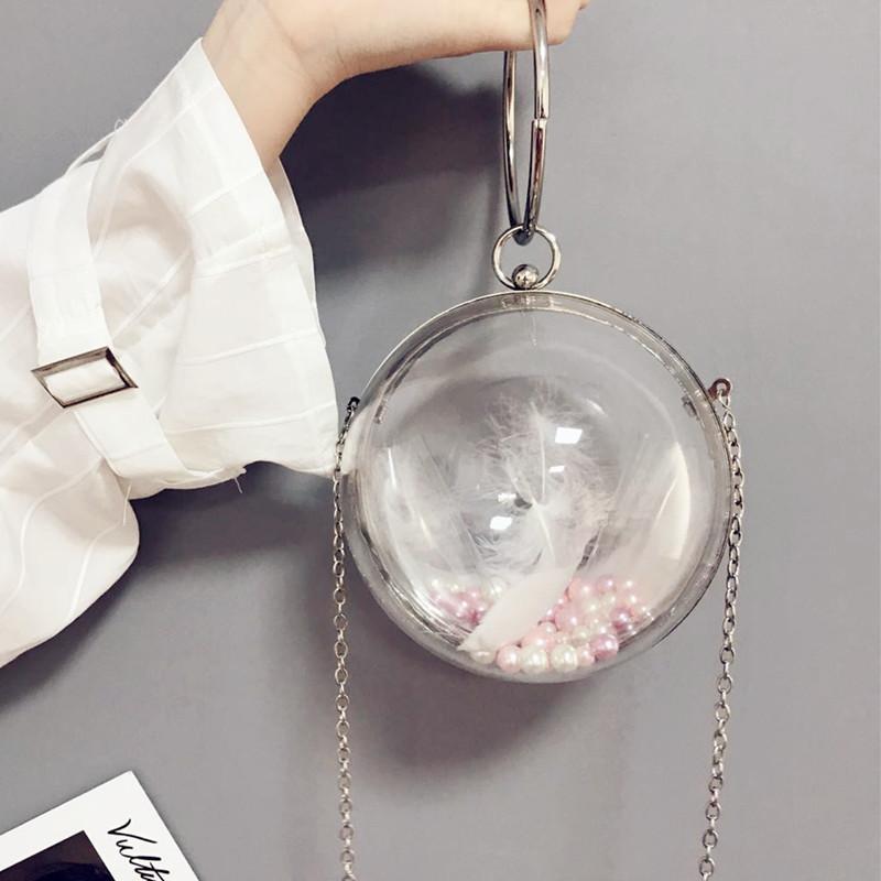 New Arrival Acrylic Ball Shape Clutch Evening Bag Transprent Round Shoulder  Bag Chain Mini Crossbody Messenger Purse Crossbody Purses Wholesale Handbags  ... 1c70fa1a6f75