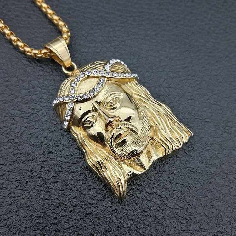 e45e2b54ba7f Compre Big JESUS Christ Piece Head Face Collares Pendientes Color Oro Jesus  Head Hip Hop Joyería Para Mujer   Hombre A  7.03 Del Crazyxb
