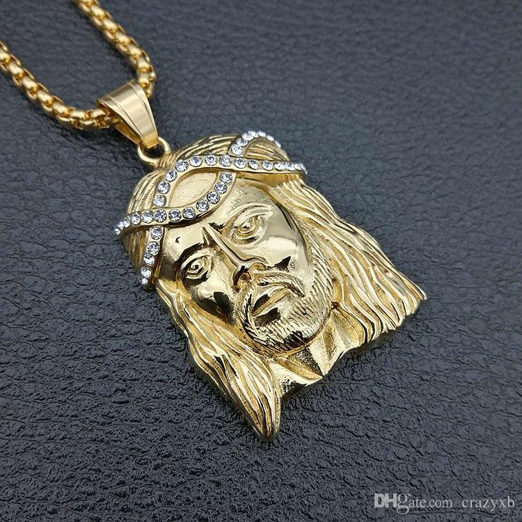 Big JESUS Christ Piece Head Face Pendant Necklaces Gold Color Jesus Head Hip Hop Jewelry for Women/Men