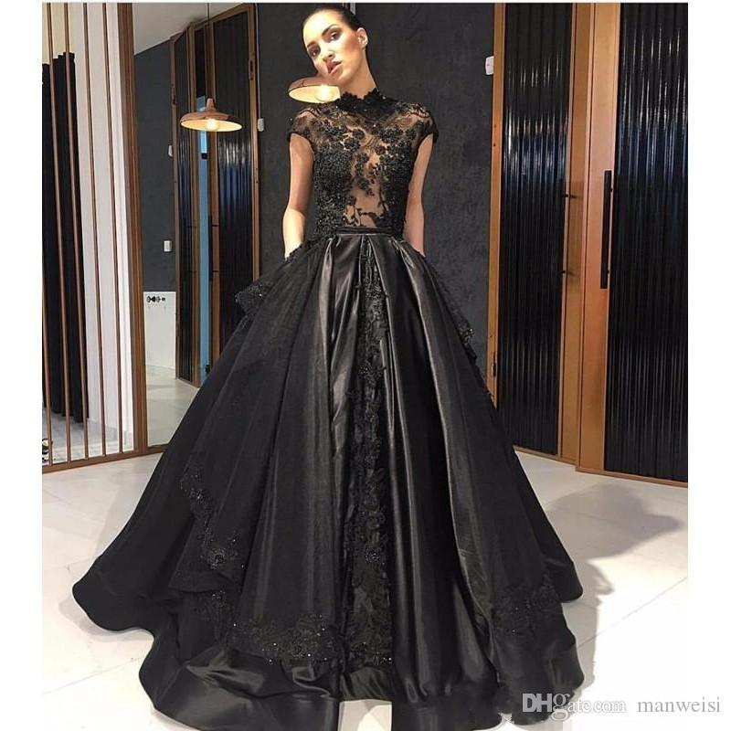 Elie Saab Black 2018 Prom Dresses Cap Sleeves Lace Appliqued