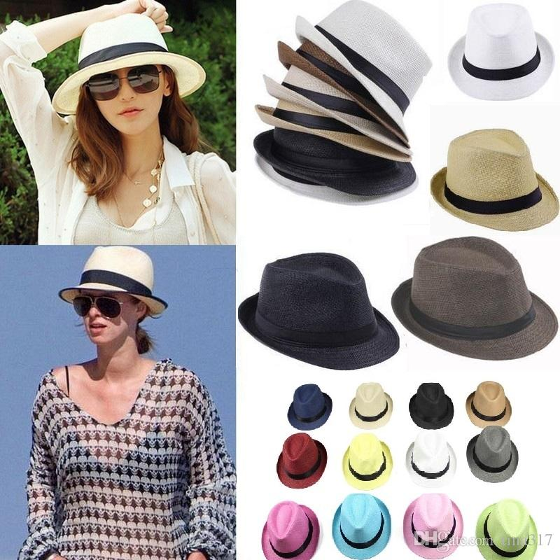 62e20c4dfab 2019 Fashion Panama Straw Hats Soft Men Women Sun Hats Stingy Brim Caps  Choose Stingy Brim Hats 0350 From Tina317