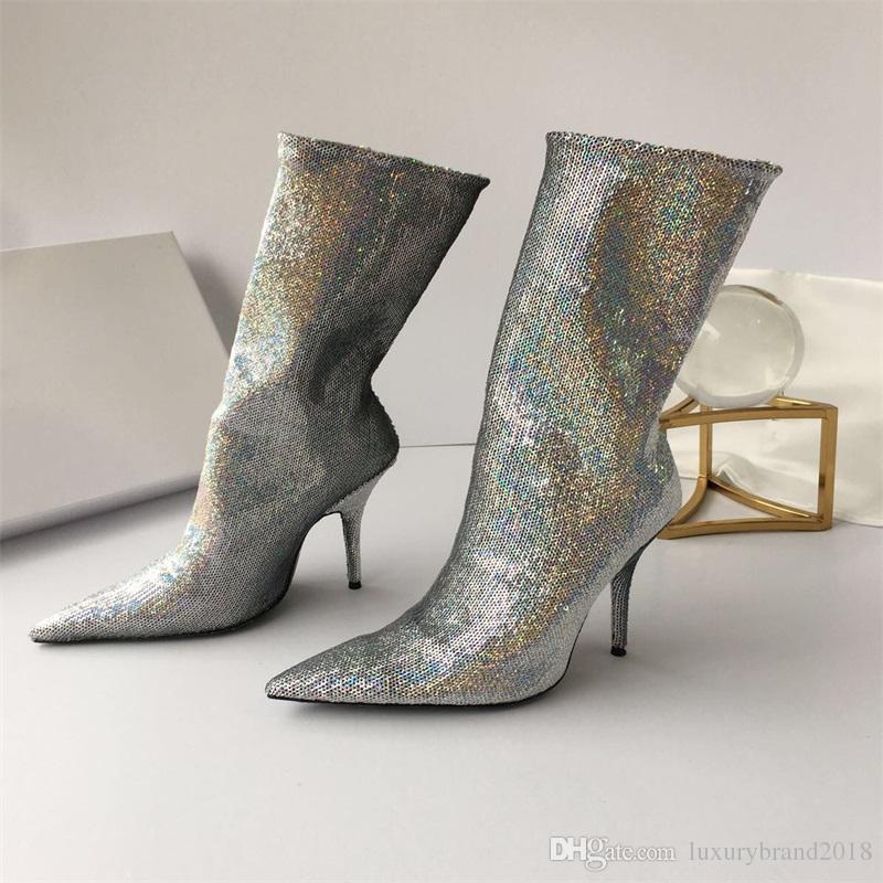 f9fb2f1e Nueva Llegada suela de Cuero botas de mujer de moda popular Estilo de  diseño de Oro, lentejuelas de plata zapatos Femeninos forro de piel de  oveja de ...