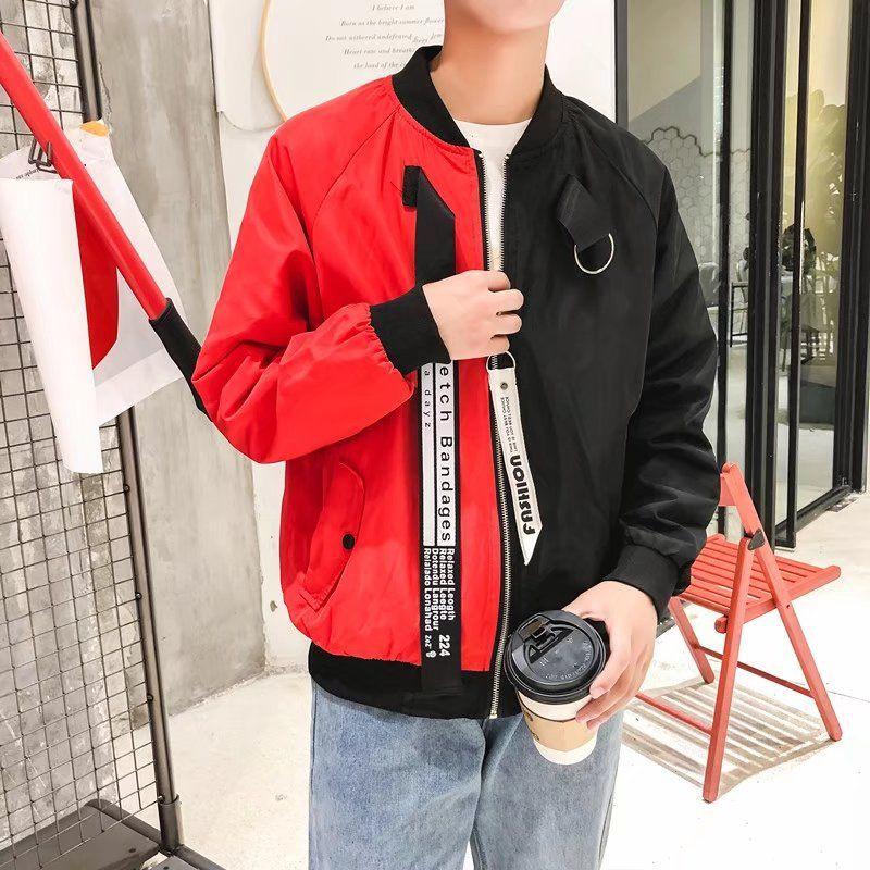 fd797fcfe3b7 Mode Männer Bomberjacke Brief Drucken Patchwork Slim Fit Pilot Jacke  Langarm Reißverschluss Trainingsanzug Casual Mantel Männer Hip Hop  Streetwear ...