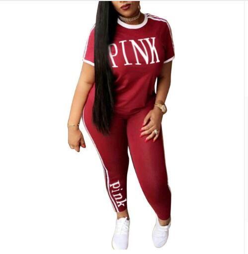 Women 2018 PINK Tracksuit Women Summer Sportwear Yoga Suit Fitness Short  Sleeve Tees Gym Tops Sweatshirt Pants Leggings Outfits 1047