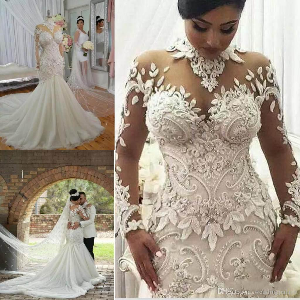 2018 Mermaid Wedding Dresses Long Sleeve Full Beaded Lace: Unique Design High Neck Wedding Dresses 2018 With Long