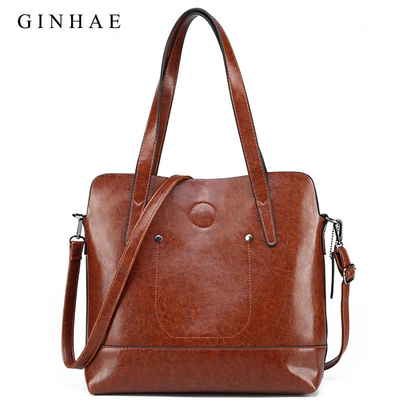 Large Capacity Women Shoulder Bag Vintage Women Composite Bag Wax Oil  Leather Tote Handbags Small Clutch Set Sac School Bags Messenger Bags From  Finallan 7ce53b4500bfe