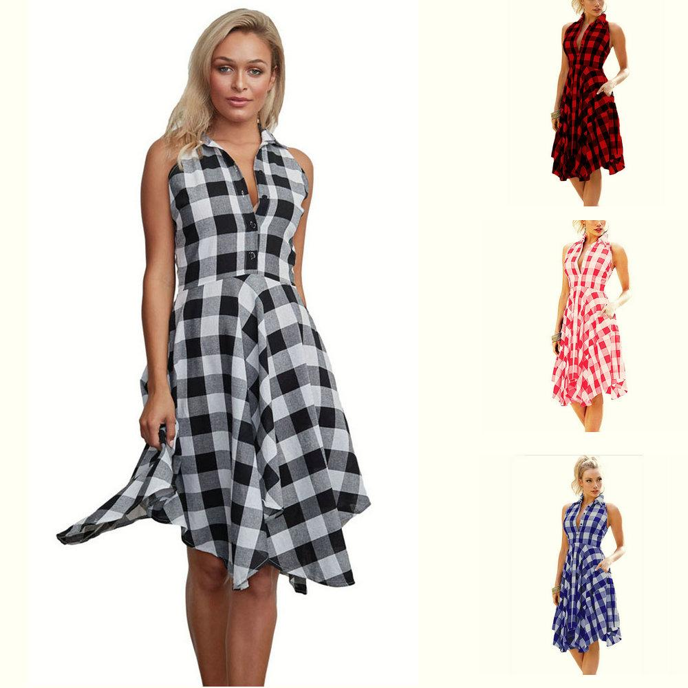 Fashion Grid Pocket Shirt Dress Sleeveless Women 2018 Summer Dresses ... 371e790d27f0