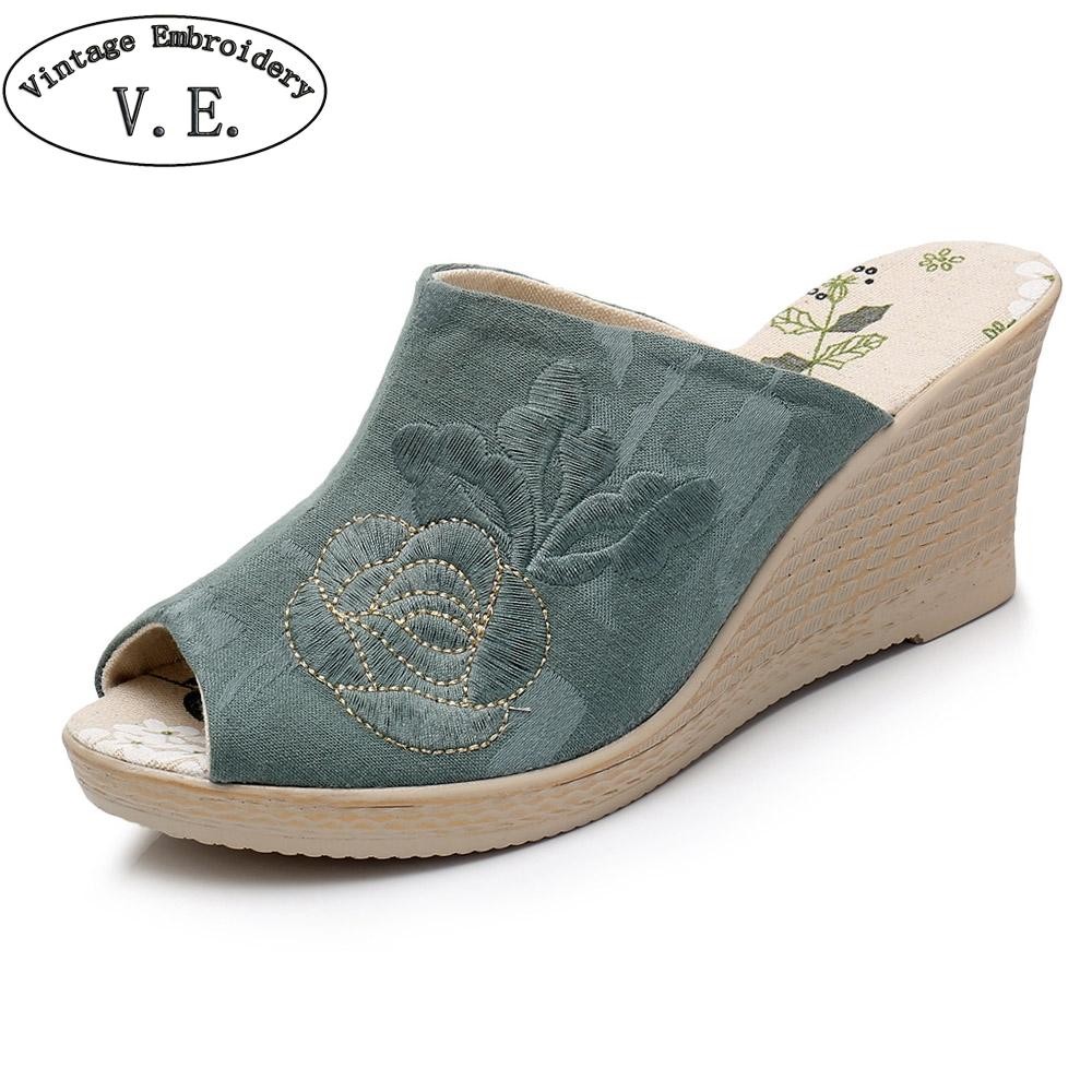 9e5fd331a49 Vintage Embroidery Women Casual Canvas Peep Toe Wedge Espadrilles Slides  Summer Ladies High Heel Embossed Cotton Slippers Bearpaw Boots Silver Shoes  From ...