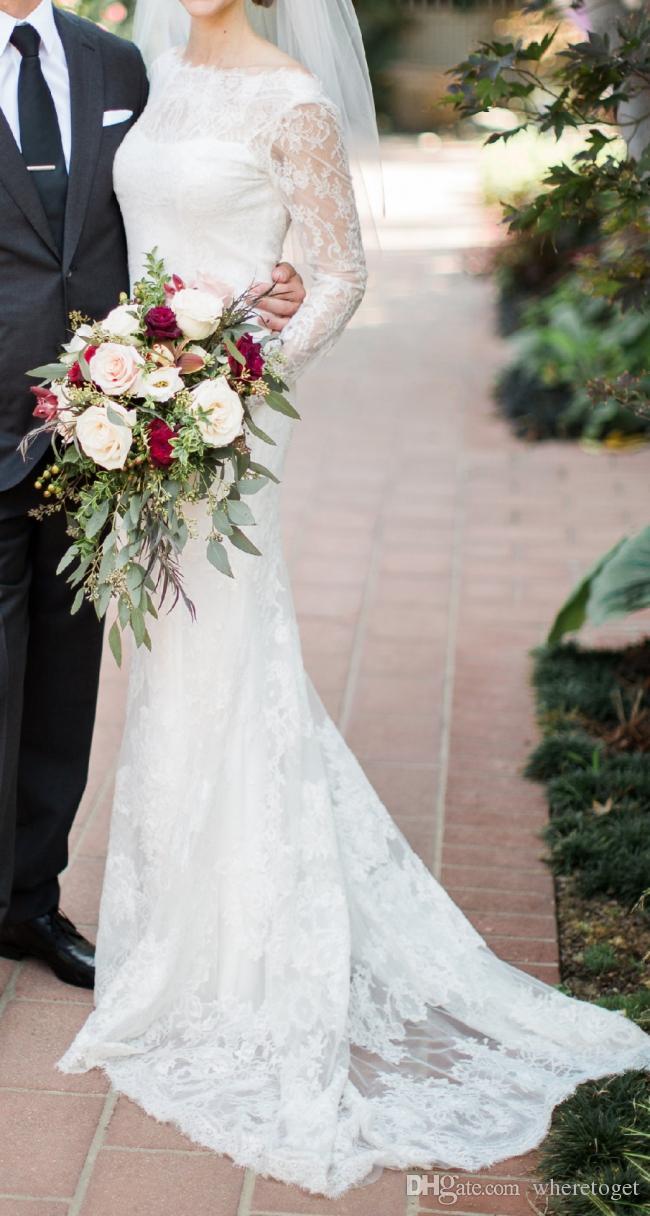 2019 с длинным рукавом кружева свадебное платье русалка элегантный Бато шеи скромной спинки страны свадебные платья плюс размер свадебное платье