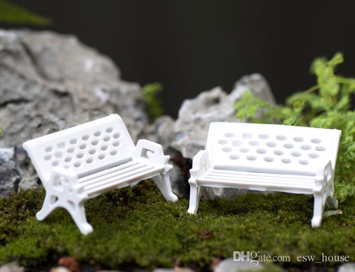 Crafts Mini moderno Bancos de parque en miniatura hada del jardín Miniaturas accesorios juguetes para casa de muñecas Patio Decoración
