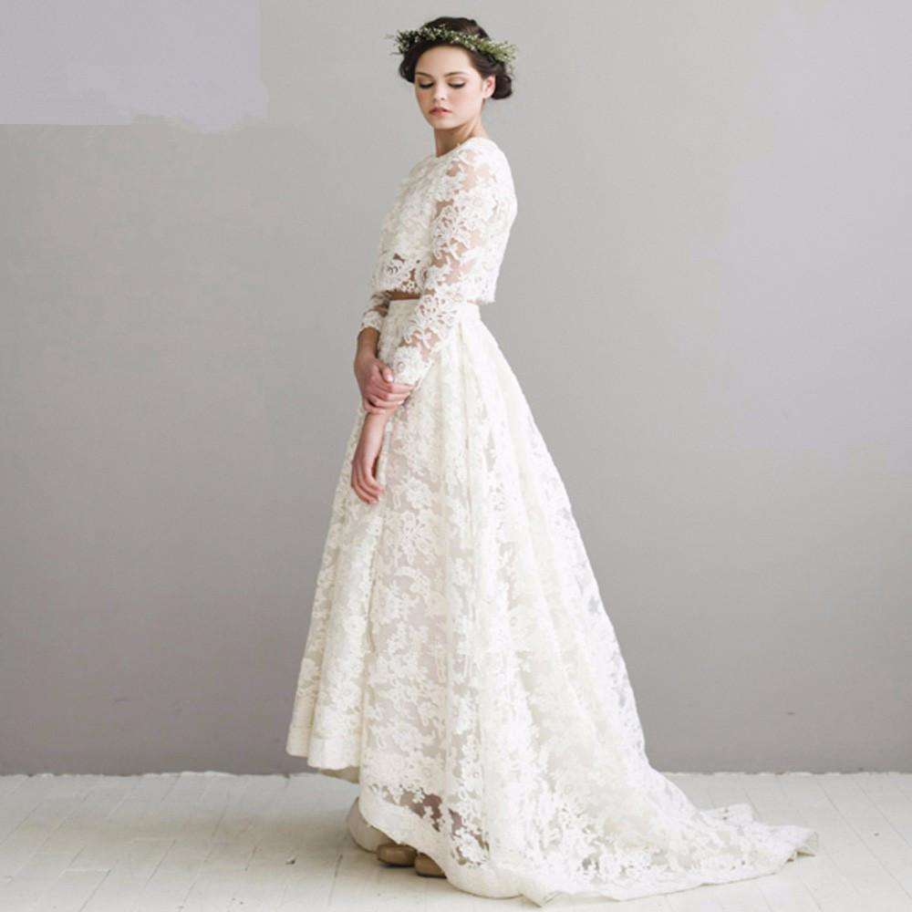 Großhandel Vintage Spitze 2 Stück Brautkleider Langarm Braut Kleid ...