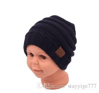 2018 детские шапочки CC модные шапочки крючком мода шапочки открытый Hat зима новорожденный Шапочка дети шерсть вязаные шапочки теплая шапочка