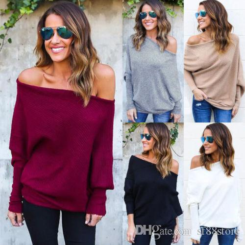 4e0545f81175 Womens Off Shoulder Baggy Ladies Tops Chunky Knitted Oversized Sweater  Jumper Buy Funny T Shirts Online Tee Shirts Funny From Sf88store