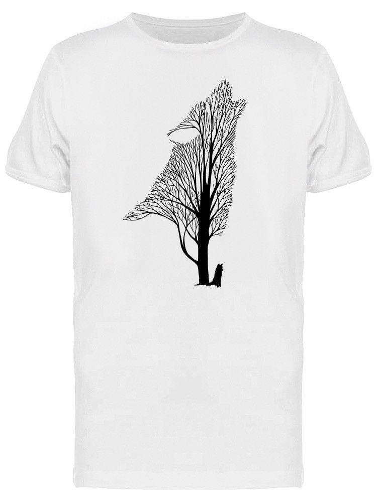 abab75dbc Wolf Howl Tree Tattoo Men's Tee -Image by Shutterstock Cartoon t shirt men  Unisex New Fashion tshirt free shipping funny tops