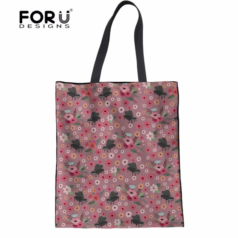 b001518b5f72 FORUDESIGNS Flower Piano Linen Tote Bags Women Fashion Women s Handbags  Bolsa Feminina Casual Crossbody Bags For Teenage Girls Totes Crossbody Bags  From ...