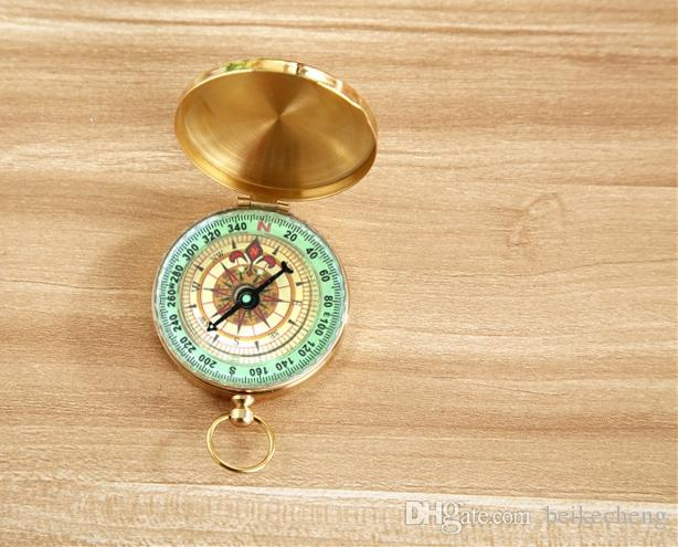 Useful Outdoor Sport Camping Hiking Portable Brass Pocket Golden Fluorescence Compass Navigation Camping Tools toy