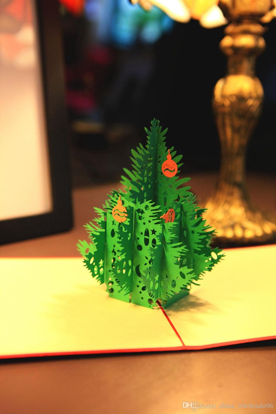 Red 3d Merry Christmas Tree 3d Laser Cut Pop Up Paper Bulk Handmade ...