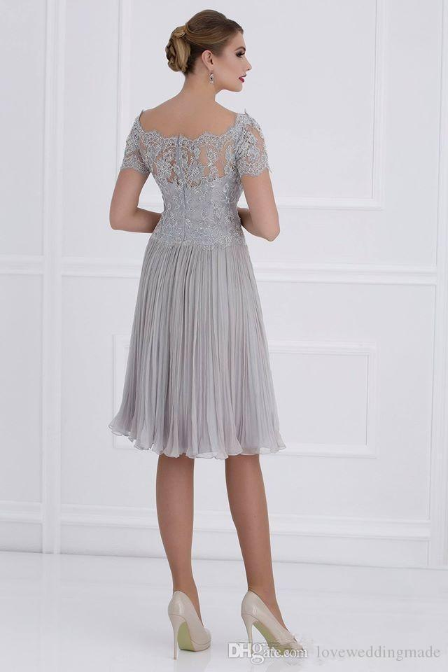 Knee Length Lace Chiffon Mother Of The Bride Dresses 2019 V Neck Short Sleeves Zipper Back Wedding Party Gowns