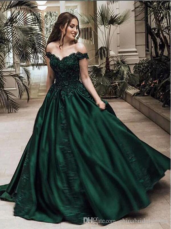 2018 Off Shoulder Ball Gown Evening Dresses Green Satin Applique ...