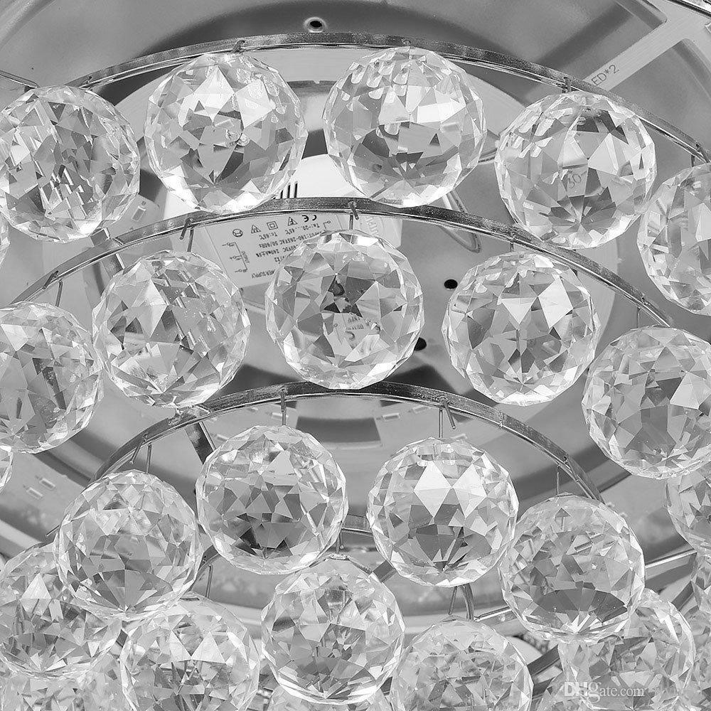 Crystal Ceiling Fan 42 inch Shrinkable Transparent Blades Fan Modern Chandelier Lights With Remote for Indoor Outdoor Living Dining Room