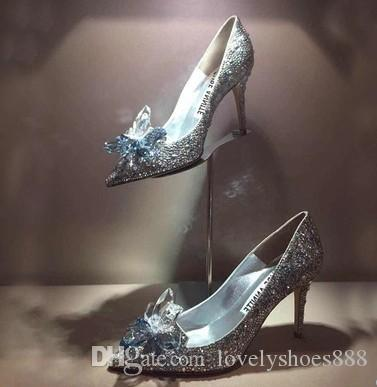 fashion free shipping crystal wedding shoes with diamond bride flower high heel pointed toe brand name women shoes 481 sale shop buy cheap store cheap sale footaction 7a17NPIY