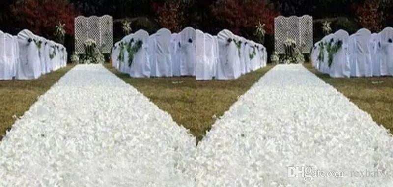 10 m / 1,4 m Largeur Romantique Blanc Rose Pétale 3D Tapis Aisle Runner pour le mariage Favors Backdrop Centerpieces Décoration Réceptions