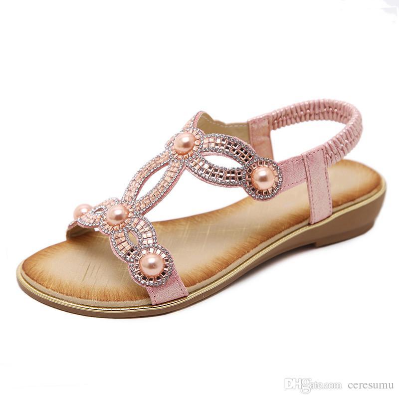 631d98ccc7b Compre 2018 Mujeres Sandalias Zapatos Mujer Moda Verano Chanclas Correa De  Tobillo De Cristal Zapatos De Las Señoras Sandalias Mujer Tallas Grandes 35  42 A ...