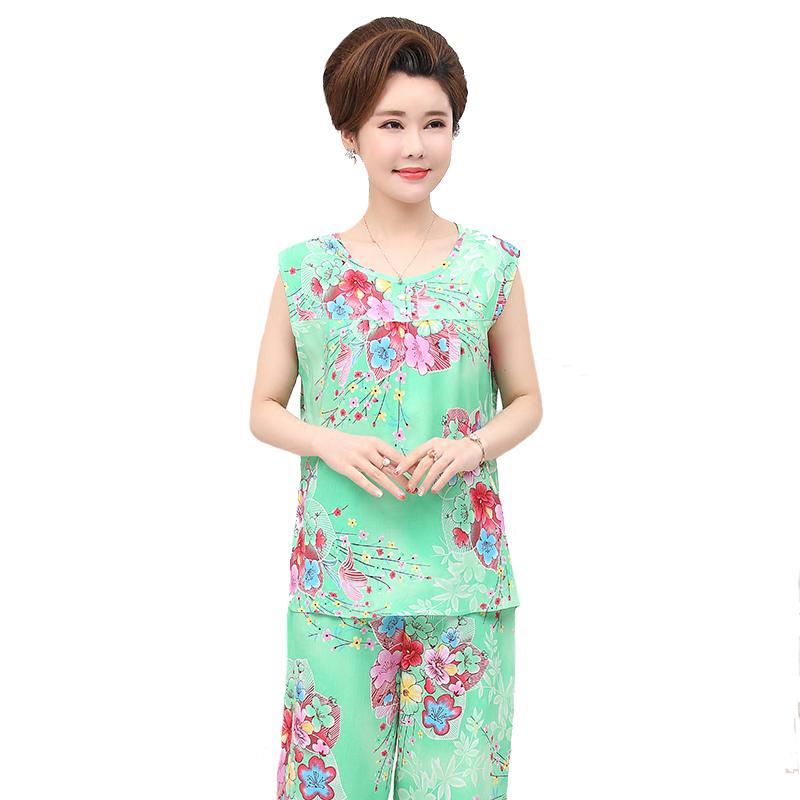 30e7adba2c2 Summer 2PCS Sleeveless Vest+Shorts Sleep Set Lady Cotton Pajamas Suit Intimate  Lingerie Loose Home Clothes Large Size 3XL 4XL