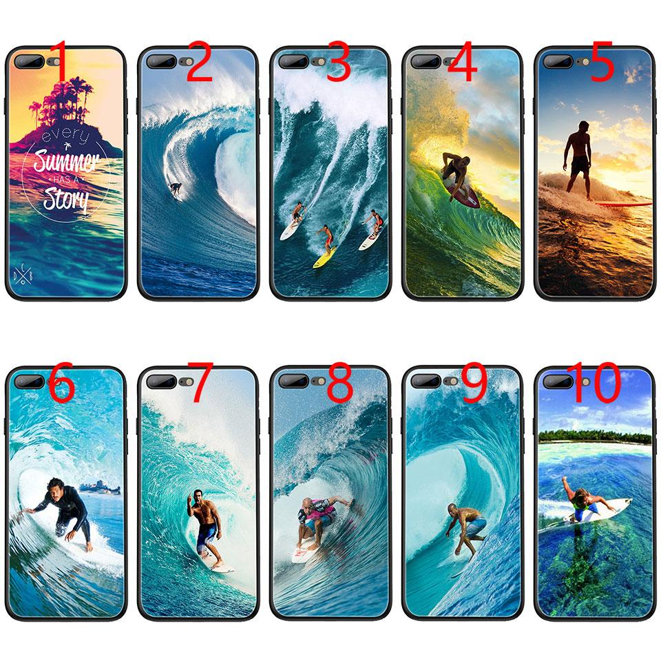 more photos 5dea5 a1ea5 Sea wave surf summer surfing ocean Soft Black TPU Phone Case for iPhone XS  Max XR 6 6s 7 8 Plus 5 5s SE Cover