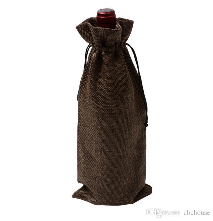 Jute Weinflasche Taschen Kordelzug Beutel 15cmx35cm 6