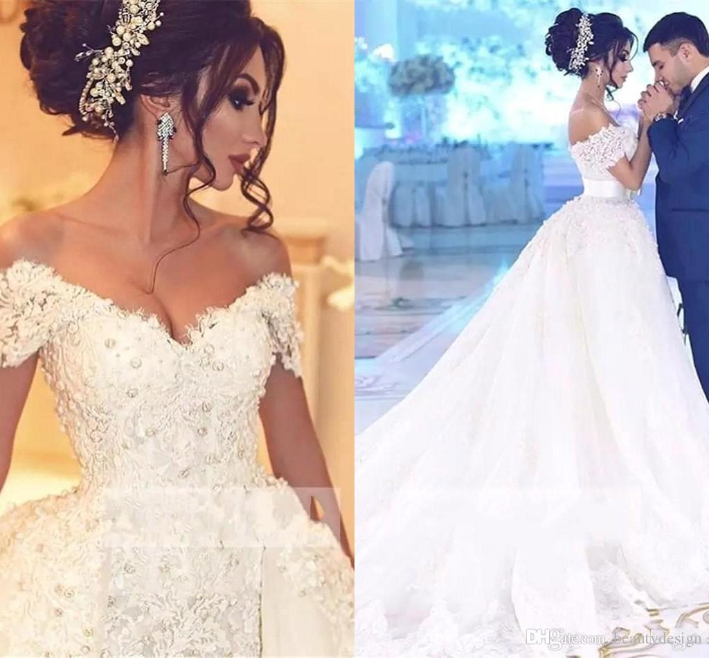 ed8102da3ec Luxury Arabic Wedding Dresses With Detachable Skirt Appliques Beaded Pearls  Dubai Wedding Dress Plus Size Bridal Gowns Robe De Mariee BA7646 Gown  Wedding ...