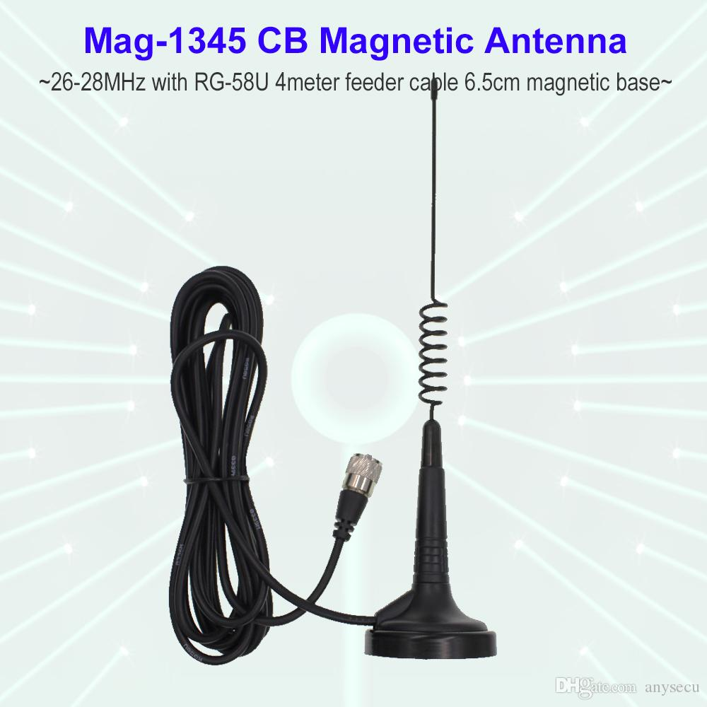 27MHz CB Radio Antenna Mag-1345 PL259 Connector with Magnet Base and 4  meters feeder Cable Center for Citizen Band Radio