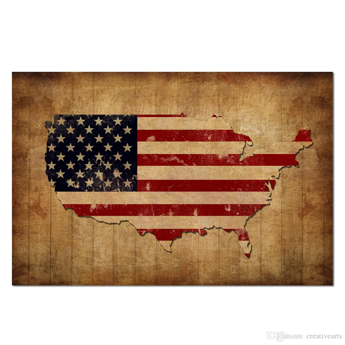 2019 Vintage USA Map With American Flag Canvas Prints Patriotic ...