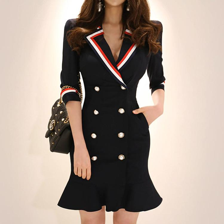 864c85098f7 2018 new style office lady professional women s dress features a  double-breasted slim suit with collar and hip flounces