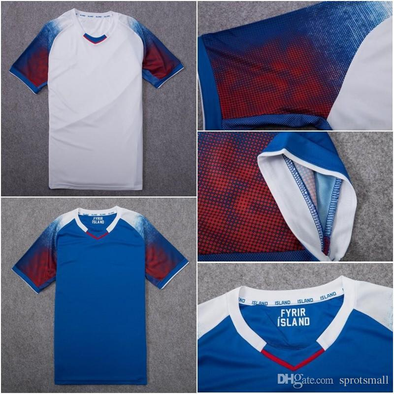 c2a9d48c3 2018 World Cup Iceland Soccer Jersey 2018 Iceland Home Blue Away White  Football Shirts Size S XL UK 2019 From Sprotsmall