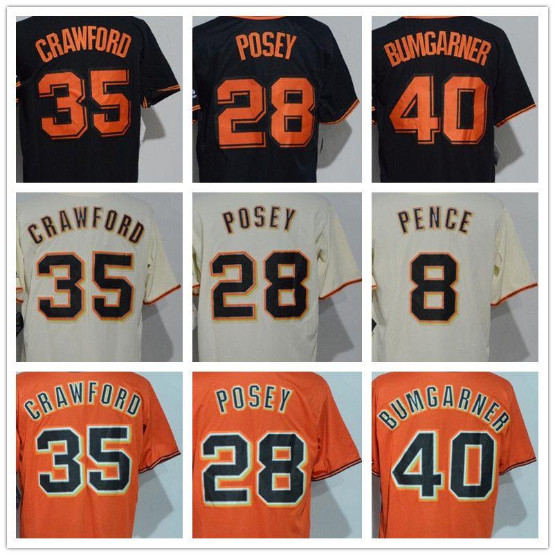 e31b5870b 2018 Men s SF 28 Buster Posey 35 Brandon Crawford 40 Madison Bumgarner  Orange Black Beige Cool Base Giant Baseball Jerseys 28 Buster Posey 35  Brandon ...