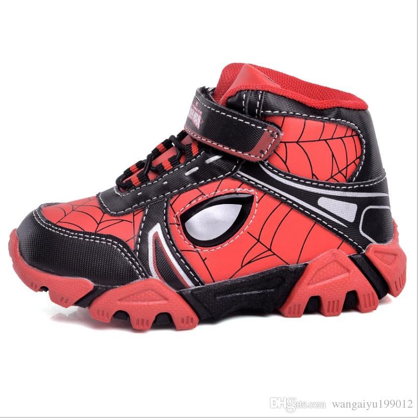 factory price 9513c 7a586 2018 Herbst und Winter Kinderschuhe koreanische Kinder hohe Hilfe spiderman  blinkende Lichter Schuhe Jungen und Mädchen Sport lässig laufen sho