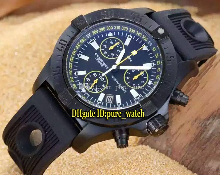 المنتقم Seawolf Diver Pro M73390T1 الأسود الهاتفي الكوارتز كرونوغراف للرجال ووتش PVD الأسود حالة المطاط حزام جودة عالية الساعات
