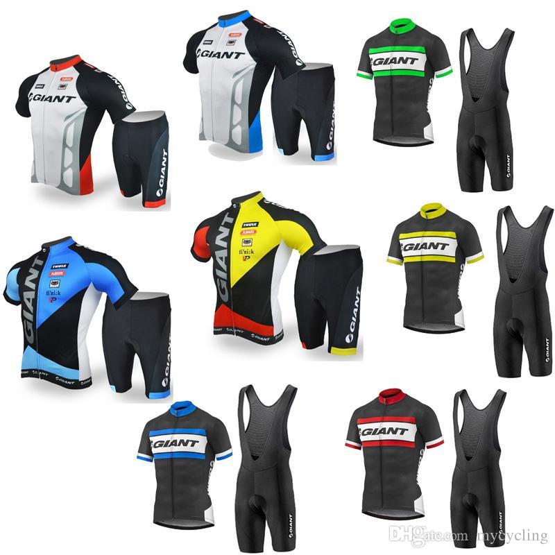 Men GIANT Cycling Jersey Set 2018 Breathable MTB Bike Jersey Short ... 2841dd95d