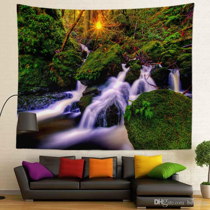 Forest Sunlight Picture Hot Selling Sublimation Printed High Resolution Custom Size 130X150cm Wall Tapestry for Home Decoration