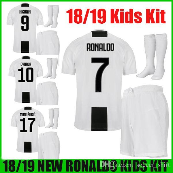 d623300a8a5 2019 Ronaldo Kids Kit 2018 2019 Juventus Home HIGUAIN DYBALA PJANIC MARCHISIO  Soccer Jerseys Uniform Set 18 19 Children Kits Football Shirts From ...