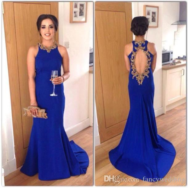 New Coming Elegant Beautiful Royal Blue Evening Dresses Jewel Mermaid Beaded Backless Prom Dresses Formal Party Gowns A28