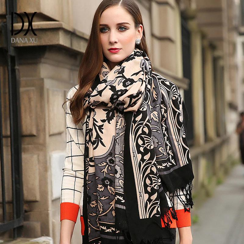 1d8370a65b7f Silk Scarf Women Hijab Winter Cashmere Scarfs Women Plaid Blanket Designer  Wool And Silk Basic Shawls Women S Scarves Face Shield Pashmina Scarf From  ...