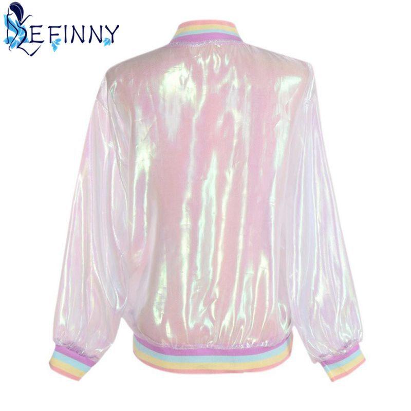 787998e51 2018 Women Jacket Sunscreen Laser Rainbow Symphony Hologram Light Girl Coat  Iridescent Transparent Bomber Jacket Sunproof