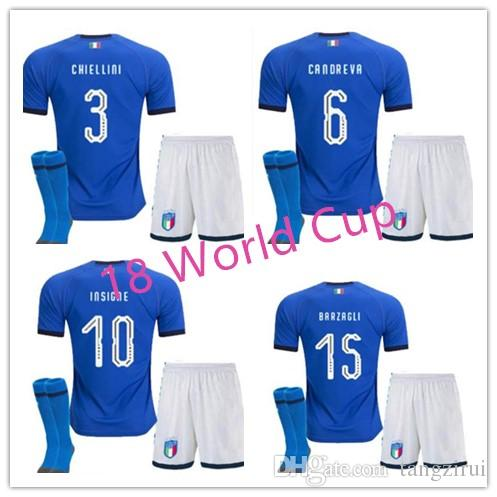 dbdb3987c31 Best Quality 2018 Men ITALY Home Soccer Sets Jersey 18 19 CANDREVA ...
